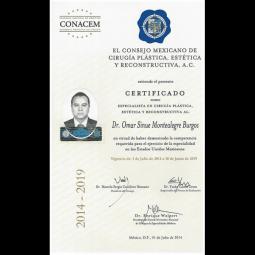 Certificación por el Consejo Mexicano de Cirugía Plástica Estética y Reconstructiva Dr. Omar Montealegre